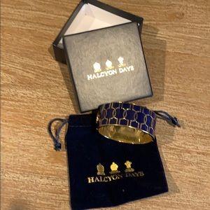 Halcyon Days enamel bracelet. Navy blue and gold
